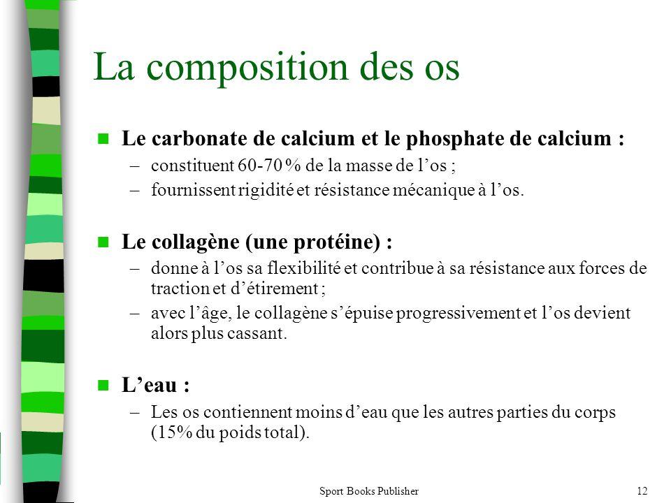 Sport Books Publisher12 La composition des os  Le carbonate de calcium et le phosphate de calcium : –constituent 60-70 % de la masse de l'os ; –fourn