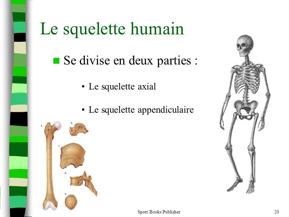 Le squelette humain  Se divise en deux parties : •Le squelette axial •Le squelette appendiculaire Sport Books Publisher20