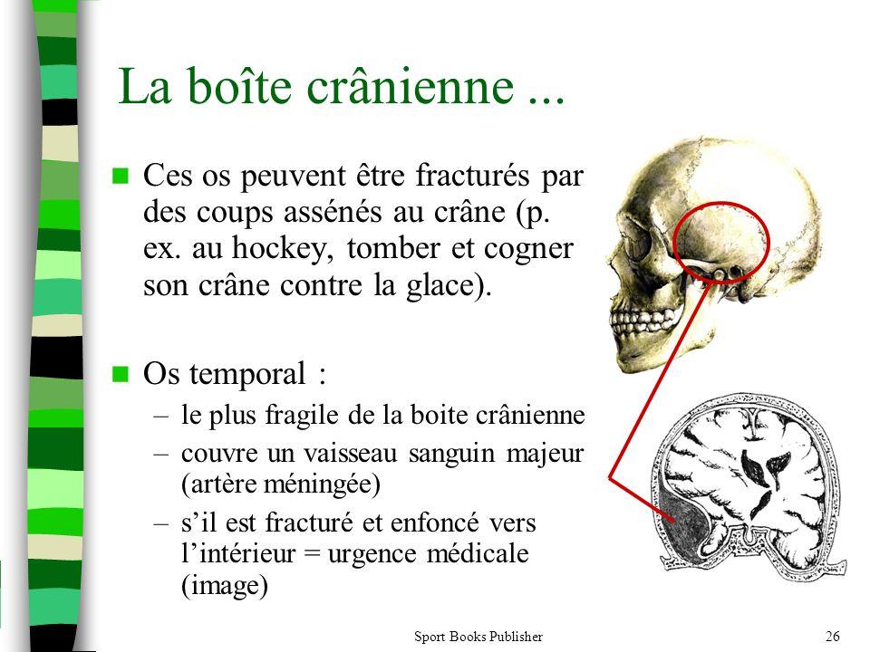 Sport Books Publisher26 La boîte crânienne...  Ces os peuvent être fracturés par des coups assénés au crâne (p. ex. au hockey, tomber et cogner son c
