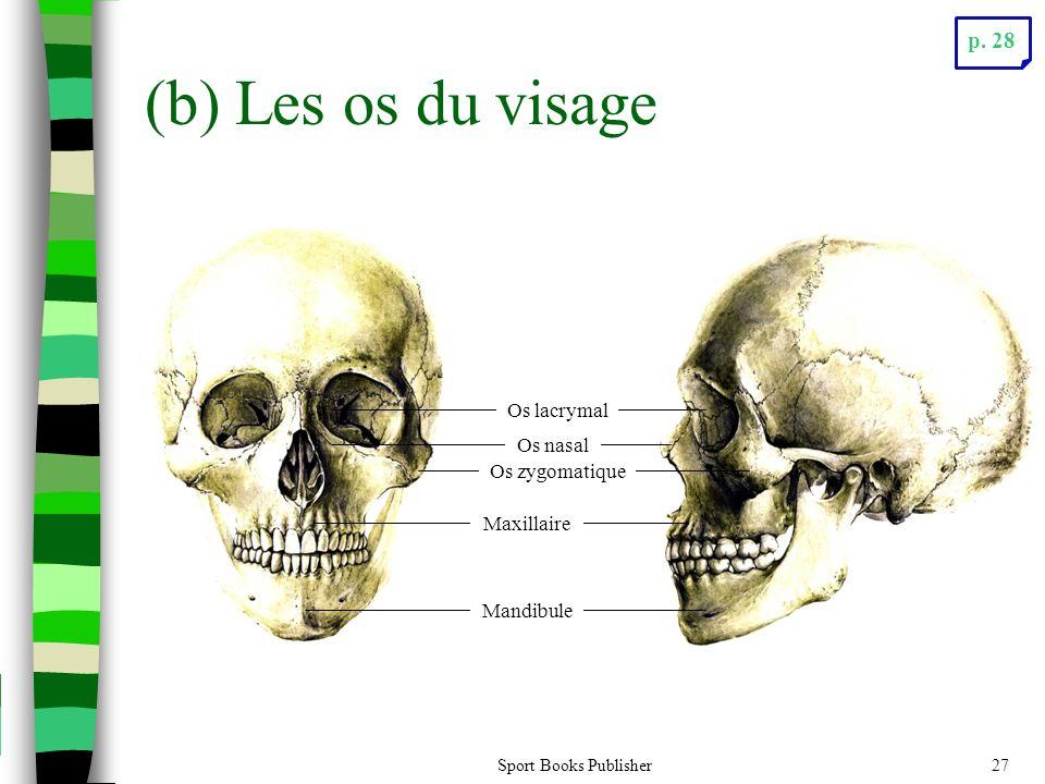 Sport Books Publisher27 (b) Les os du visage Os lacrymal Os nasal Maxillaire Mandibule Os zygomatique p. 28