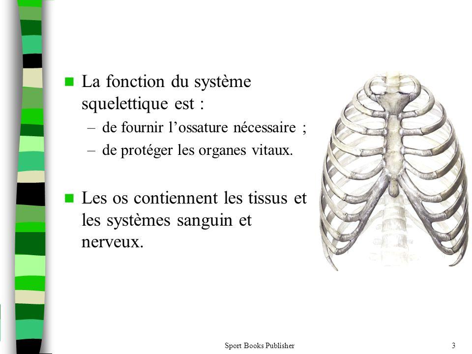 Sport Books Publisher3  La fonction du système squelettique est : –de fournir l'ossature nécessaire ; –de protéger les organes vitaux.  Les os conti