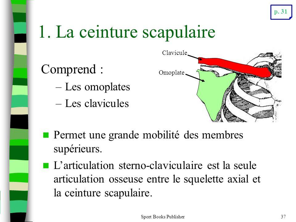 Sport Books Publisher37 Comprend : –Les omoplates –Les clavicules 1. La ceinture scapulaire  Permet une grande mobilité des membres supérieurs.  L'a