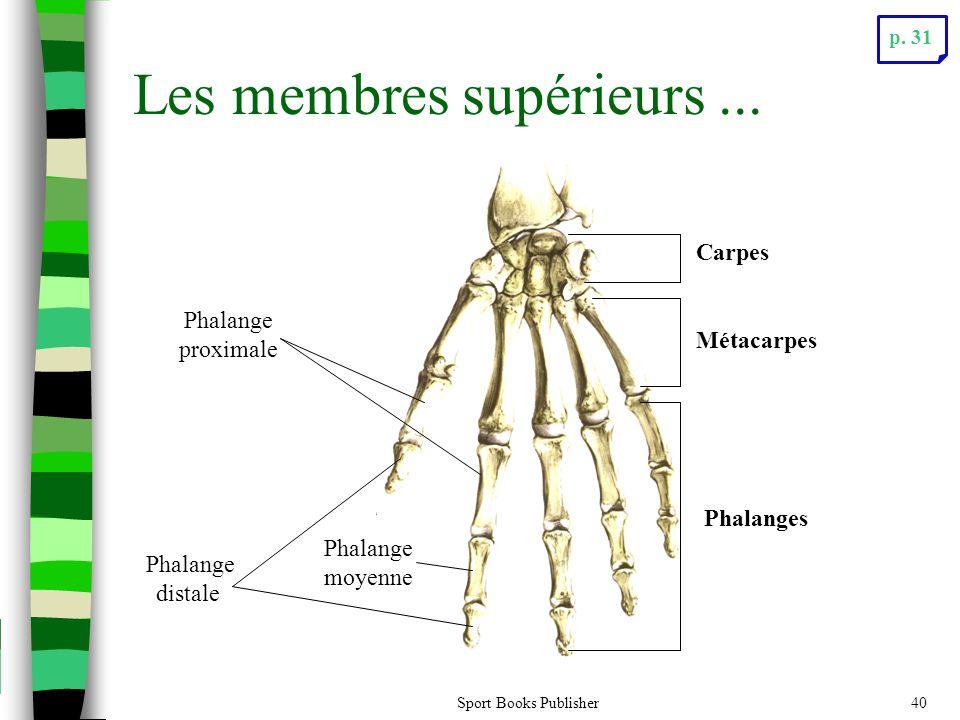 Sport Books Publisher40 Les membres supérieurs... Carpes Phalanges Métacarpes Phalange proximale Phalange moyenne Phalange distale p. 31