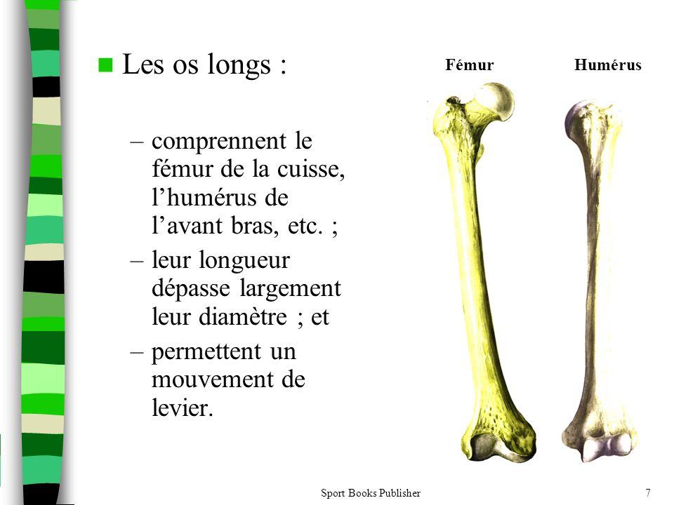 Sport Books Publisher7  Les os longs : –comprennent le fémur de la cuisse, l'humérus de l'avant bras, etc. ; –leur longueur dépasse largement leur di