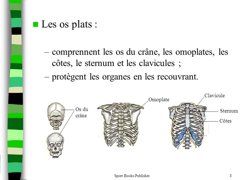 Sport Books Publisher8  Les os plats : –comprennent les os du crâne, les omoplates, les côtes, le sternum et les clavicules ; –protègent les organes en les recouvrant.
