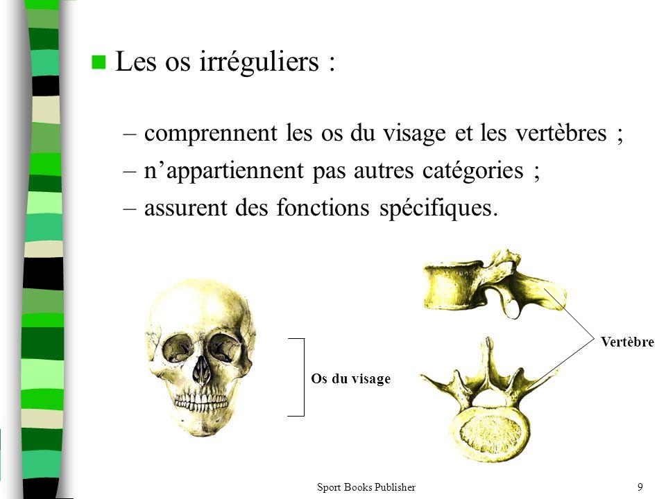 Sport Books Publisher9  Les os irréguliers : –comprennent les os du visage et les vertèbres ; –n'appartiennent pas autres catégories ; –assurent des fonctions spécifiques.