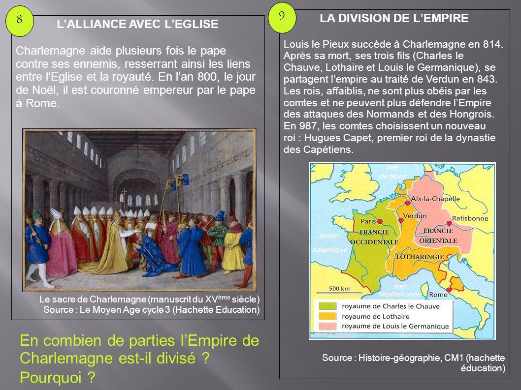 En combien de parties l'Empire de Charlemagne est-il divisé ? Pourquoi ? L'ALLIANCE AVEC L'EGLISE Charlemagne aide plusieurs fois le pape contre ses e