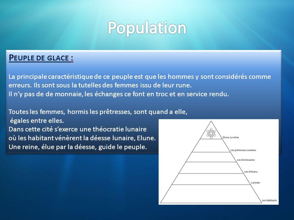 P EUPLE DE GLACE : La principale caractéristique de ce peuple est que les hommes y sont considérés comme erreurs. Ils sont sous la tutelles des femmes