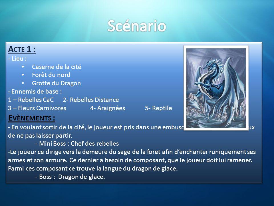 A CTE 1 : - Lieu : • Caserne de la cité • Forêt du nord • Grotte du Dragon - Ennemis de base : 1 – Rebelles CaC2- Rebelles Distance 3 – Fleurs Carnivo