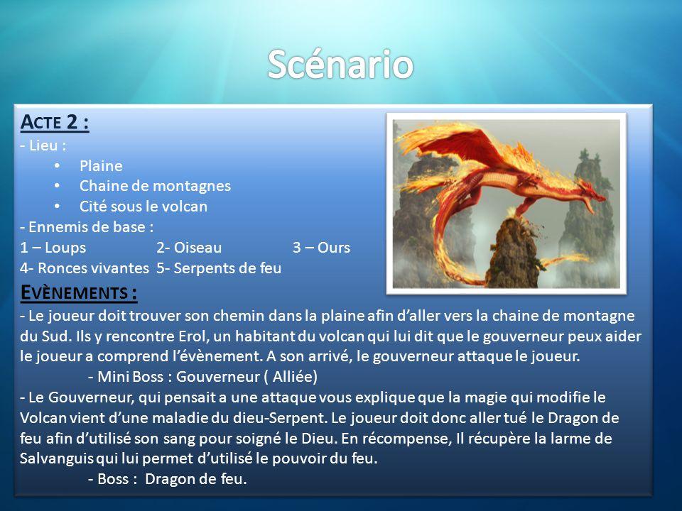 A CTE 2 : - Lieu : • Plaine • Chaine de montagnes • Cité sous le volcan - Ennemis de base : 1 – Loups2- Oiseau3 – Ours 4- Ronces vivantes5- Serpents d