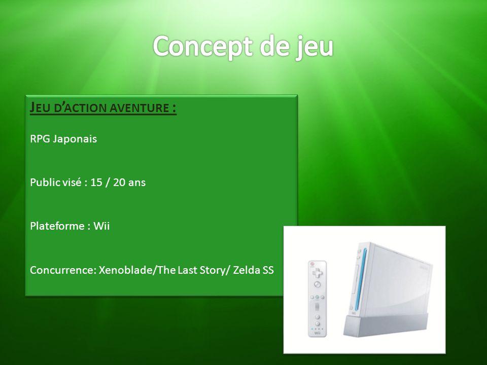 J EU D ' ACTION AVENTURE : RPG Japonais Public visé : 15 / 20 ans Plateforme : Wii Concurrence: Xenoblade/The Last Story/ Zelda SS J EU D ' ACTION AVE