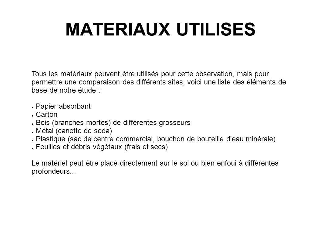 MATERIAUX UTILISES Tous les matériaux peuvent être utilisés pour cette observation, mais pour permettre une comparaison des différents sites, voici un