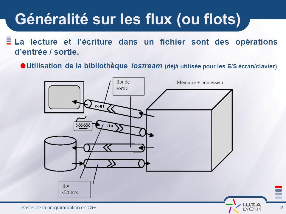 Bases de la programmation en C++ 2 Généralité sur les flux (ou flots) La lecture et l'écriture dans un fichier sont des opérations d'entrée / sortie.