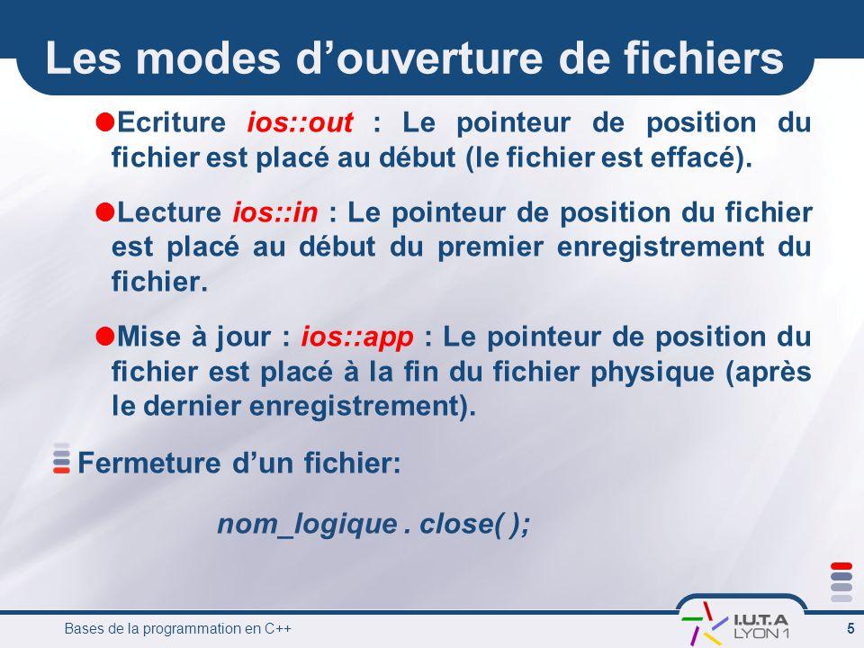 Bases de la programmation en C++ 5 Les modes d'ouverture de fichiers  Ecriture ios::out : Le pointeur de position du fichier est placé au début (le fichier est effacé).