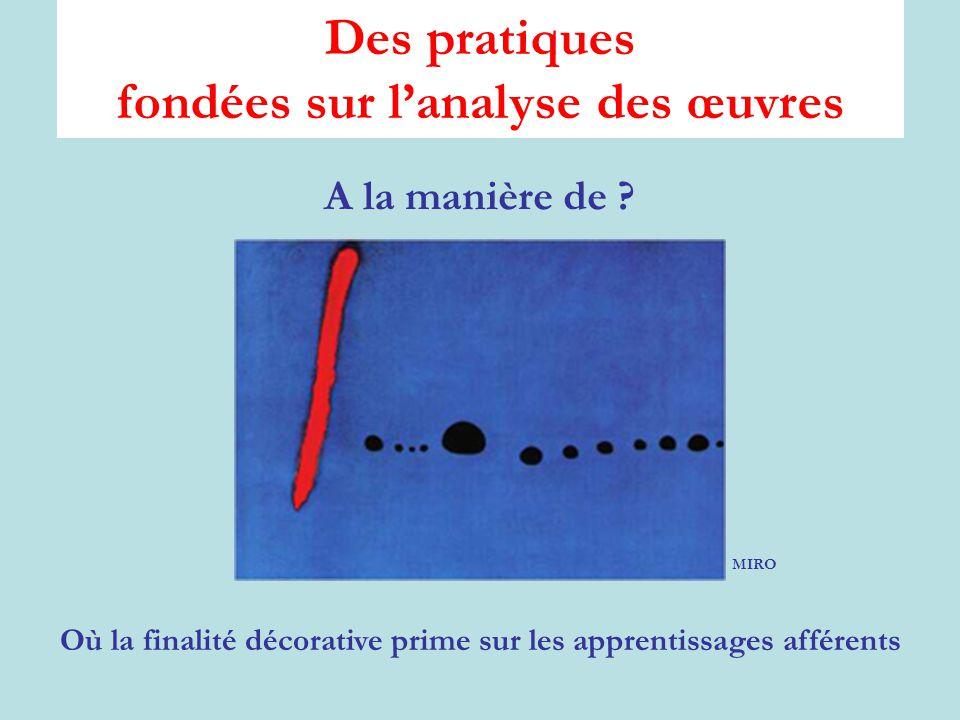 Des pratiques fondées sur l'analyse des œuvres A la manière de .