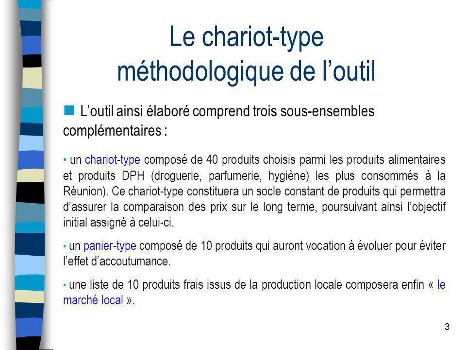 3 Le chariot-type méthodologique de l'outil  L'outil ainsi élaboré comprend trois sous-ensembles complémentaires : • un chariot-type composé de 40 pr