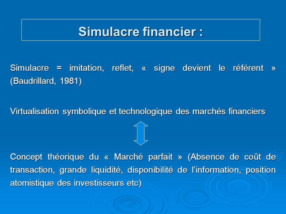 Simulacre financier : Idéalisation théorique des marchés financiers (Black 1971) Développement des moyens symboliques et informatiques Construction d'une hyper-réalité financière Marché financier = miroir virtuel du concept de « marché parfait »