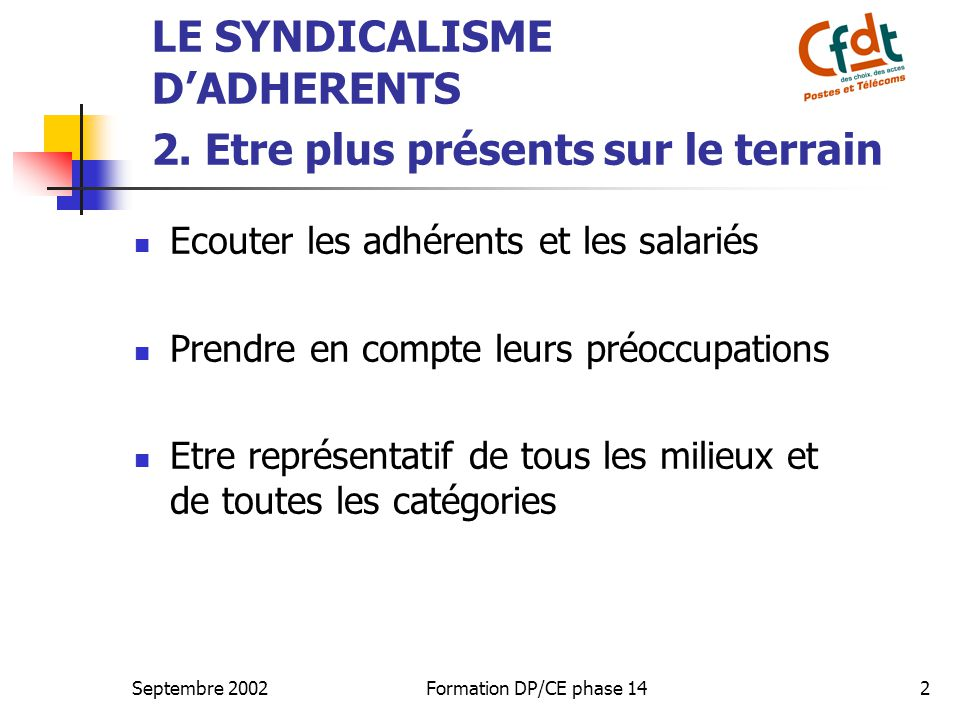 Septembre 2002Formation DP/CE phase 142 LE SYNDICALISME D'ADHERENTS 2.