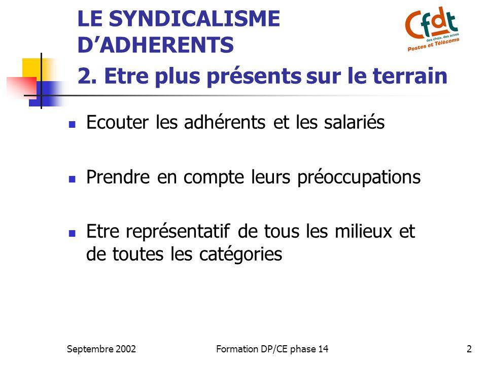 Septembre 2002Formation DP/CE phase 142 LE SYNDICALISME D'ADHERENTS 2. Etre plus présents sur le terrain  Ecouter les adhérents et les salariés  Pre