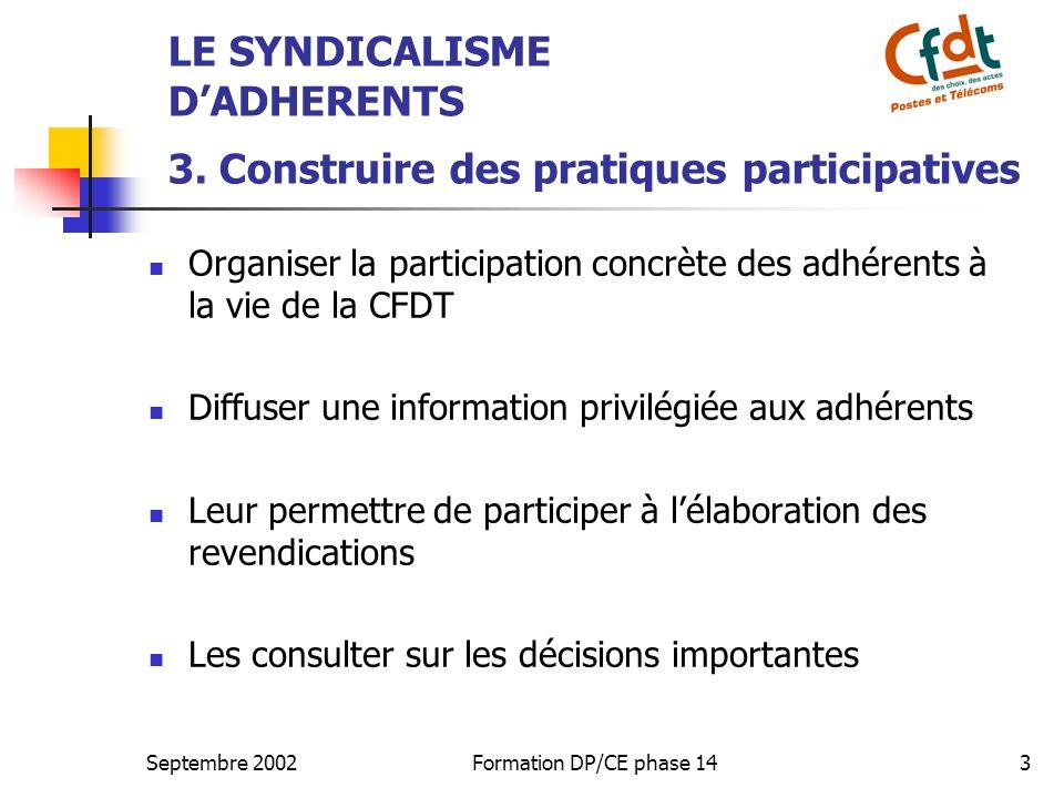 Septembre 2002Formation DP/CE phase 144 QUATRE BONNES RAISONS POUR DEVELOPPER UN SYNDICALISME D'ADHERENTS