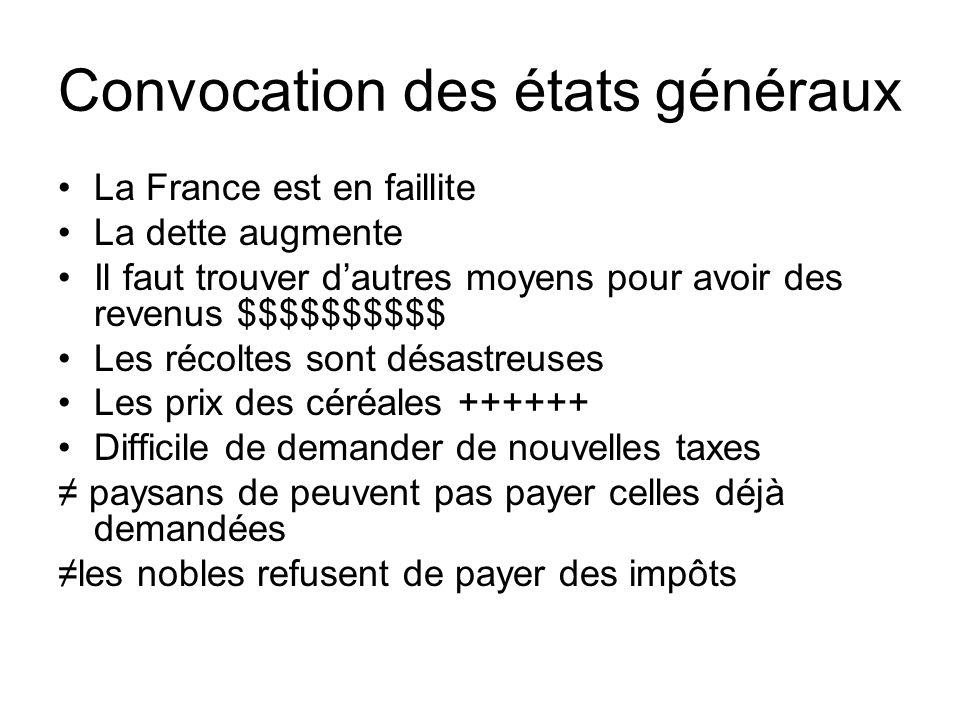 Convocation des états généraux •La France est en faillite •La dette augmente •Il faut trouver d'autres moyens pour avoir des revenus $$$$$$$$$$ •Les r