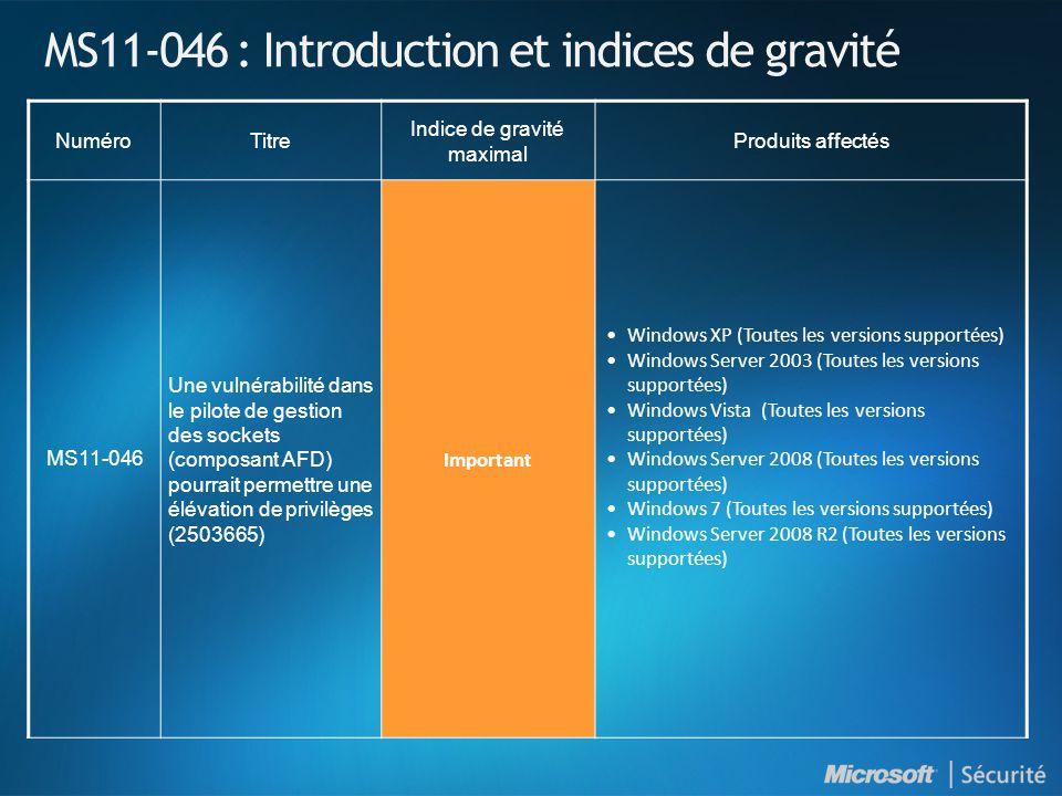 MS11-046 : Introduction et indices de gravité NuméroTitre Indice de gravité maximal Produits affectés MS11-046 Une vulnérabilité dans le pilote de gestion des sockets (composant AFD) pourrait permettre une élévation de privilèges (2503665) Important •Windows XP (Toutes les versions supportées) •Windows Server 2003 (Toutes les versions supportées) •Windows Vista (Toutes les versions supportées) •Windows Server 2008 (Toutes les versions supportées) •Windows 7 (Toutes les versions supportées) •Windows Server 2008 R2 (Toutes les versions supportées)