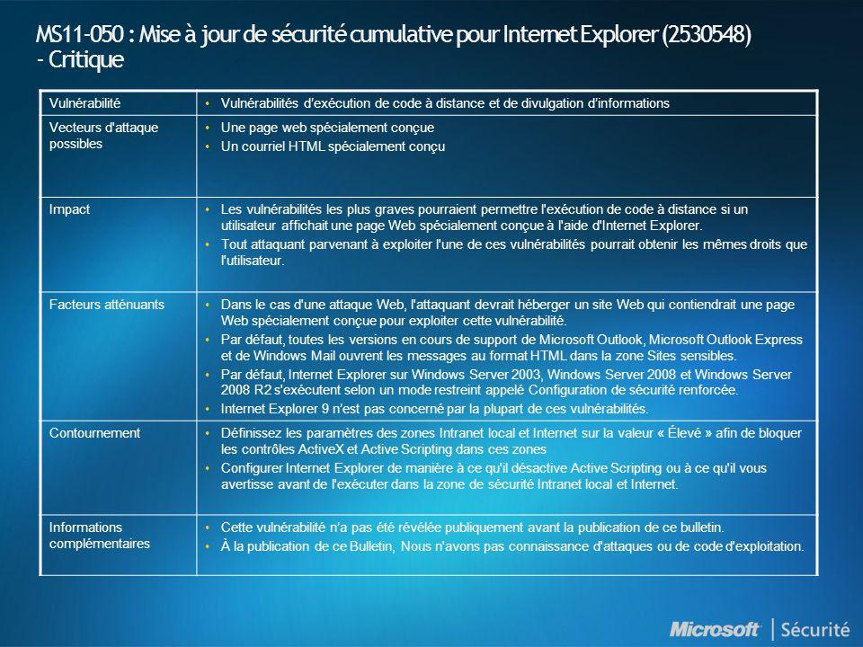 MS11-050 : Mise à jour de sécurité cumulative pour Internet Explorer (2530548) - Critique Vulnérabilité•Vulnérabilités d'exécution de code à distance et de divulgation d'informations Vecteurs d attaque possibles •Une page web spécialement conçue •Un courriel HTML spécialement conçu Impact•Les vulnérabilités les plus graves pourraient permettre l exécution de code à distance si un utilisateur affichait une page Web spécialement conçue à l aide d Internet Explorer.