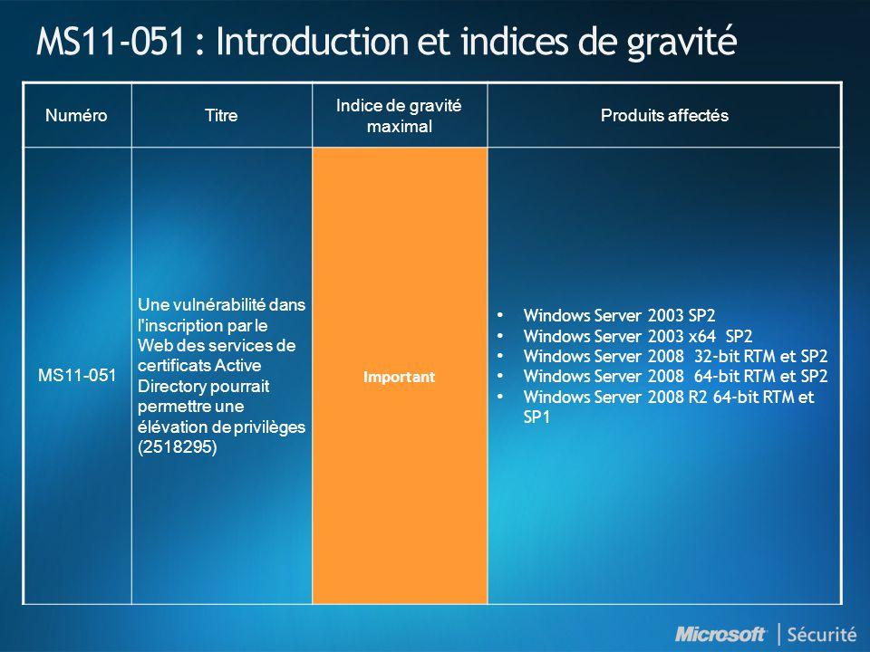 MS11-051 : Introduction et indices de gravité NuméroTitre Indice de gravité maximal Produits affectés MS11-051 Une vulnérabilité dans l inscription par le Web des services de certificats Active Directory pourrait permettre une élévation de privilèges (2518295) Important • Windows Server 2003 SP2 • Windows Server 2003 x64 SP2 • Windows Server 2008 32-bit RTM et SP2 • Windows Server 2008 64-bit RTM et SP2 • Windows Server 2008 R2 64-bit RTM et SP1