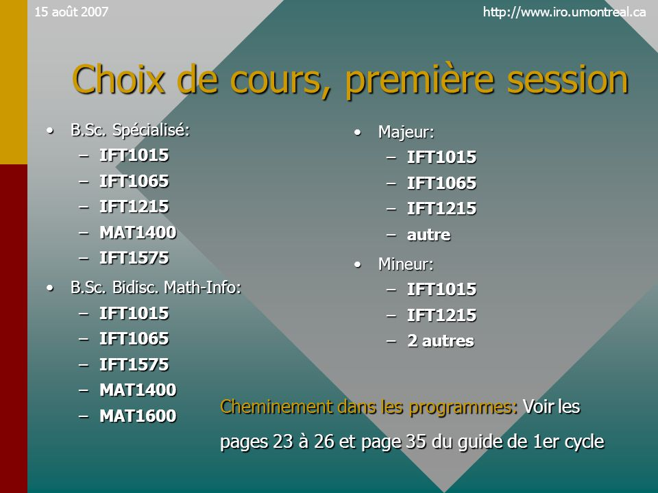 http://www.iro.umontreal.ca15 août 2007 Choix de cours, première session •B.Sc.