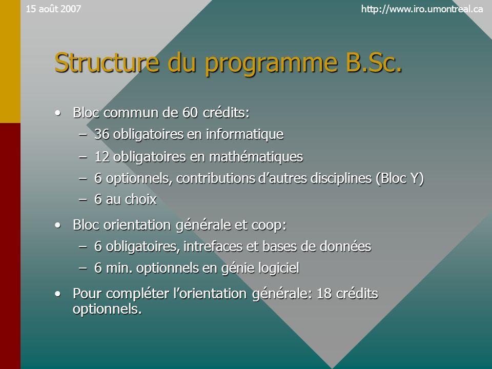 http://www.iro.umontreal.ca15 août 2007 Structure du programme B.Sc. •Bloc commun de 60 crédits: –36 obligatoires en informatique –12 obligatoires en