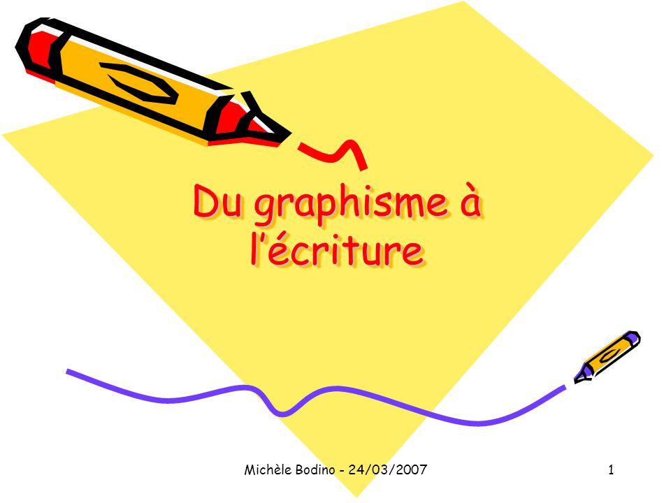 Michèle Bodino - 24/03/20071 Du graphisme à l'écriture