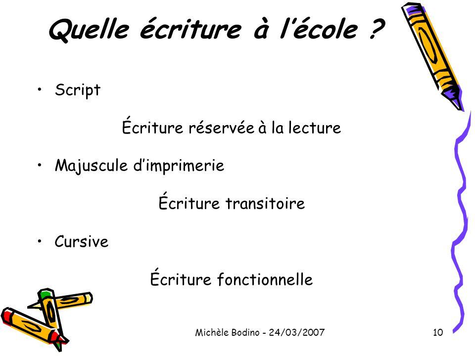 Michèle Bodino - 24/03/200710 Quelle écriture à l'école ? •Script Écriture réservée à la lecture •Majuscule d'imprimerie Écriture transitoire •Cursive