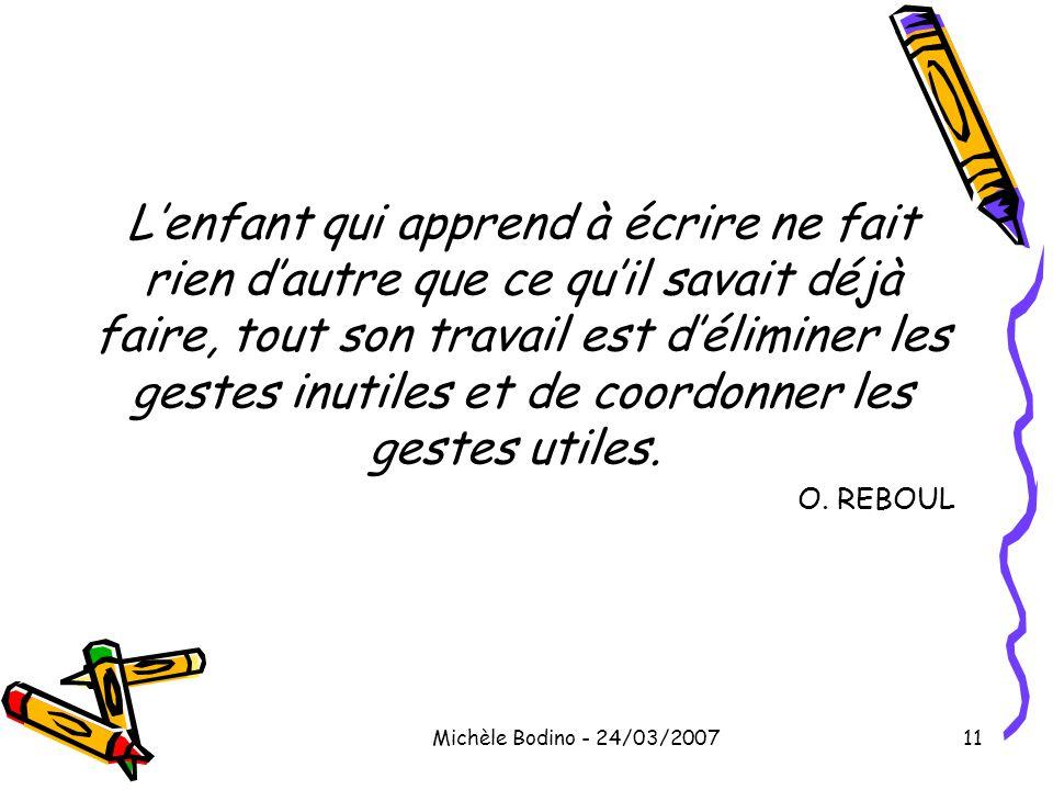 Michèle Bodino - 24/03/200711 L'enfant qui apprend à écrire ne fait rien d'autre que ce qu'il savait déjà faire, tout son travail est d'éliminer les g