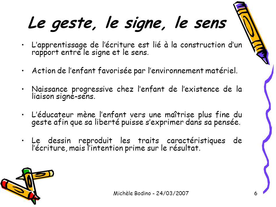 Michèle Bodino - 24/03/20076 Le geste, le signe, le sens •L'apprentissage de l'écriture est lié à la construction d'un rapport entre le signe et le se
