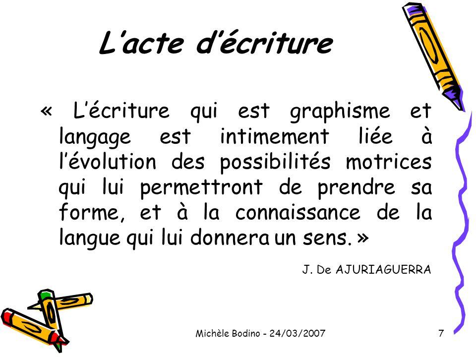 Michèle Bodino - 24/03/20077 L'acte d'écriture « L'écriture qui est graphisme et langage est intimement liée à l'évolution des possibilités motrices q
