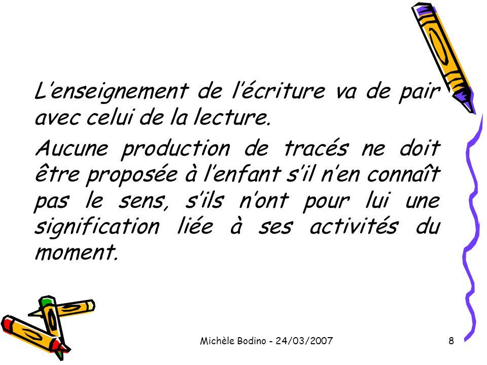 Michèle Bodino - 24/03/20078 L'enseignement de l'écriture va de pair avec celui de la lecture. Aucune production de tracés ne doit être proposée à l'e