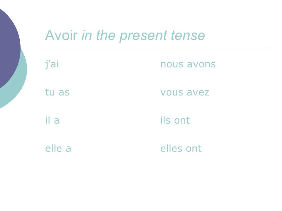 The usual meaning of this verb is to have , but in the expressions we are looking at today, it has the meaning to be as in J'ai 15 ans = I AM fifteen years old