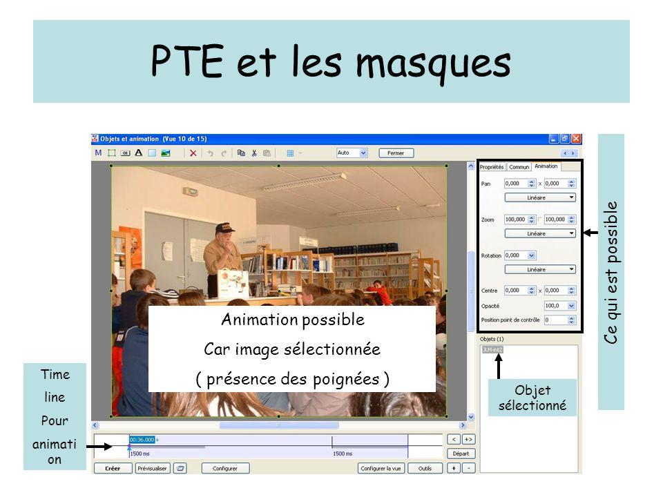 PTE et les masques Time line Pour animati on Animation possible Car image sélectionnée ( présence des poignées ) Objet sélectionné Ce qui est possible