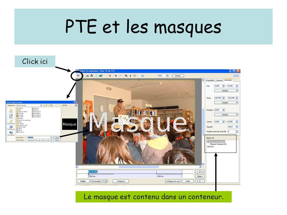 PTE et les masques Click ici Le masque est contenu dans un conteneur.