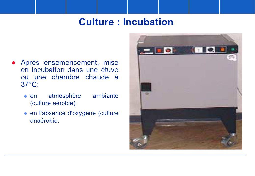 Culture : Incubation  Après ensemencement, mise en incubation dans une étuve ou une chambre chaude à 37°C: l en atmosphère ambiante (culture aérobie)