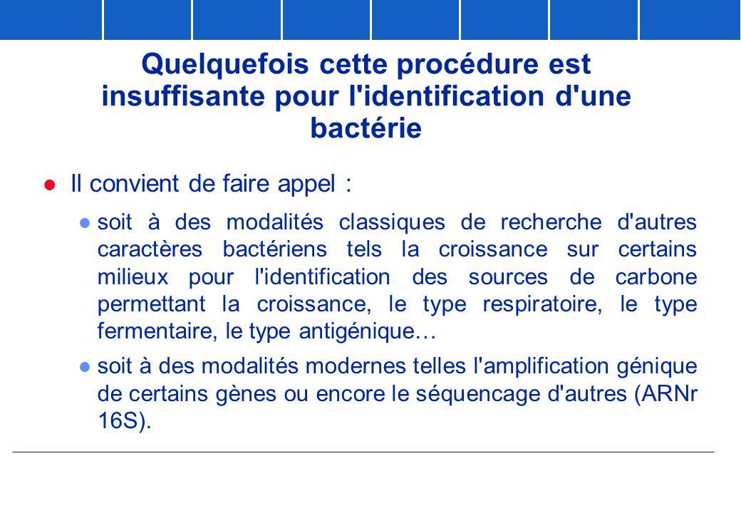 Quelquefois cette procédure est insuffisante pour l'identification d'une bactérie  Il convient de faire appel : l soit à des modalités classiques de