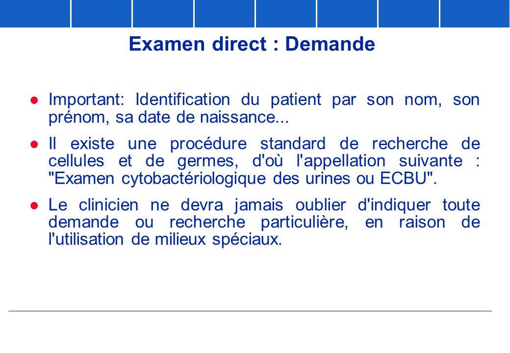 Examen direct : Demande  Important: Identification du patient par son nom, son prénom, sa date de naissance...  Il existe une procédure standard de