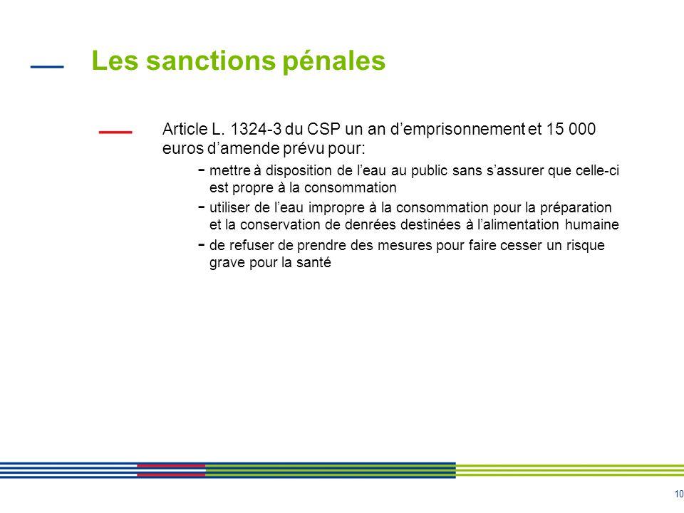 10 Les sanctions pénales Article L. 1324-3 du CSP un an d'emprisonnement et 15 000 euros d'amende prévu pour: - mettre à disposition de l'eau au publi
