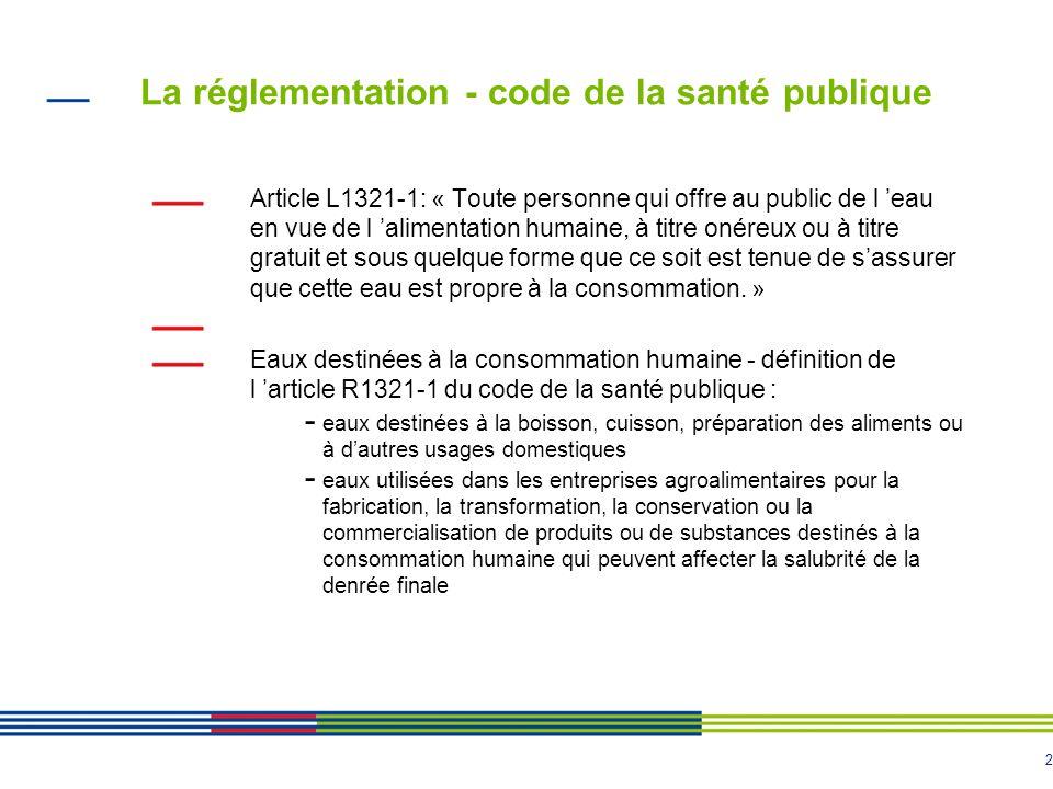 2 La réglementation - code de la santé publique Article L1321-1: « Toute personne qui offre au public de l 'eau en vue de l 'alimentation humaine, à t
