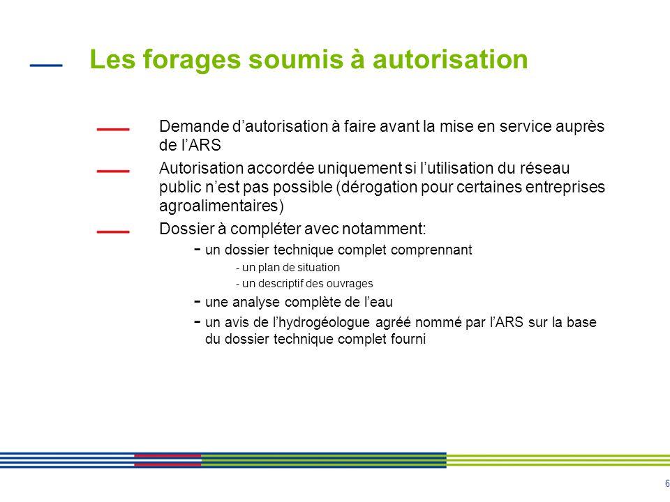 6 Les forages soumis à autorisation Demande d'autorisation à faire avant la mise en service auprès de l'ARS Autorisation accordée uniquement si l'util