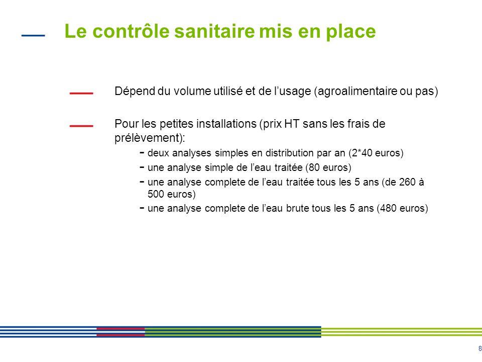 8 Le contrôle sanitaire mis en place Dépend du volume utilisé et de l'usage (agroalimentaire ou pas) Pour les petites installations (prix HT sans les
