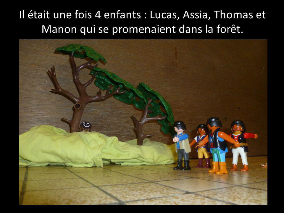 Il était une fois 4 enfants : Lucas, Assia, Thomas et Manon qui se promenaient dans la forêt.