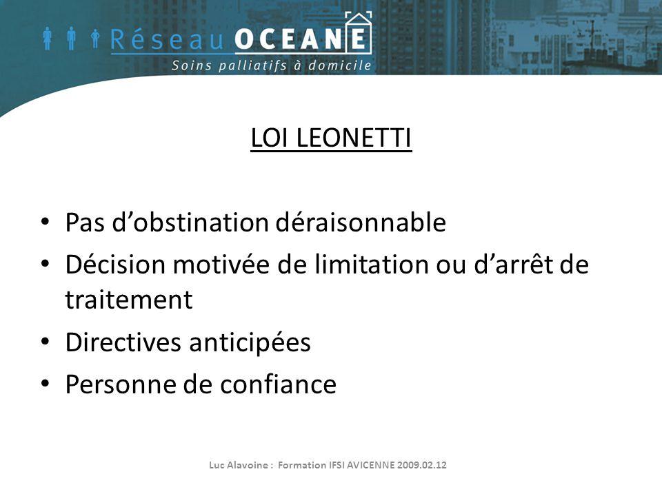 LOI LEONETTI • Pas d'obstination déraisonnable • Décision motivée de limitation ou d'arrêt de traitement • Directives anticipées • Personne de confian