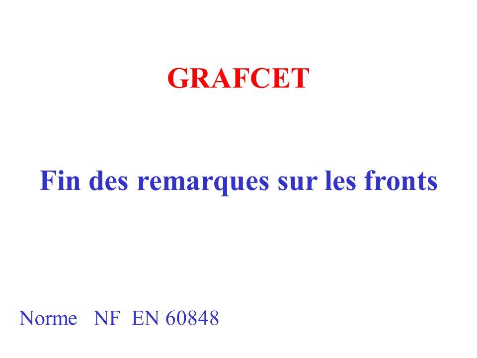 GRAFCET Norme NF EN 60848 Fin des remarques sur les fronts