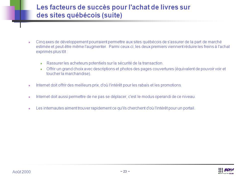 Août 2000 – 23 –  Cinq axes de développement pourraient permettre aux sites québécois de s'assurer de la part de marché estimée et peut-être même l'a